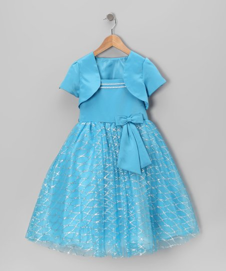 Turquoise Bow Dress & Shrug - Toddler & Girls