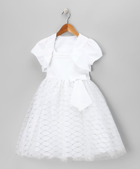 White Bow Dress & Shrug - Toddler & Girls