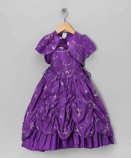 Purple Embroidered Sequin Dress &amp; Shrug - Toddler &amp; Girls