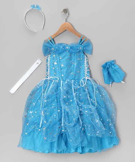 Turquoise Lace-Up Sparkle Star Dress Set - Toddler & Girls