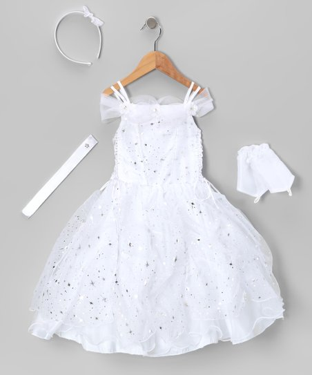 White Lace-Up Sparkle Star Dress Set - Toddler & Girls