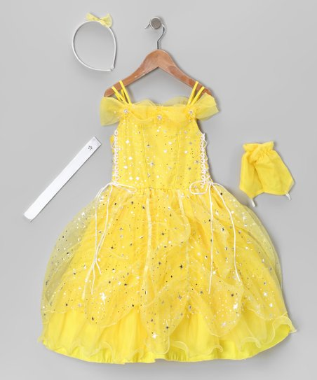 Yellow Lace-Up Sparkle Star Dress Set - Toddler & Girls