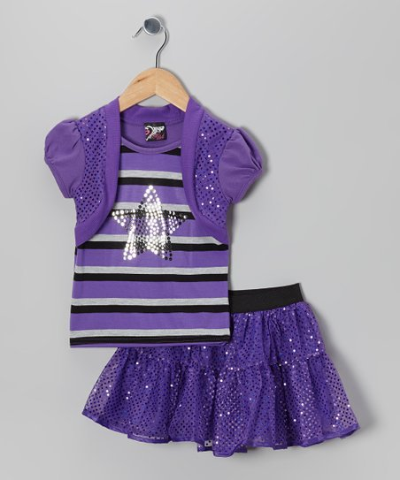 Purple Stripe Star Layered Top & Sequin Skirt - Toddler & Girls