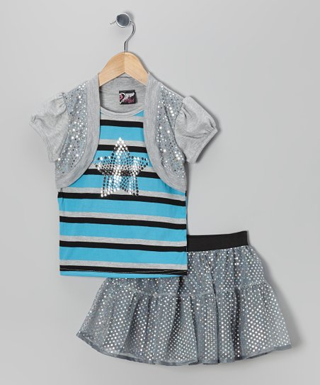 Aqua Stripe Star Layered Top & Sequin Skirt – Toddler & Girls