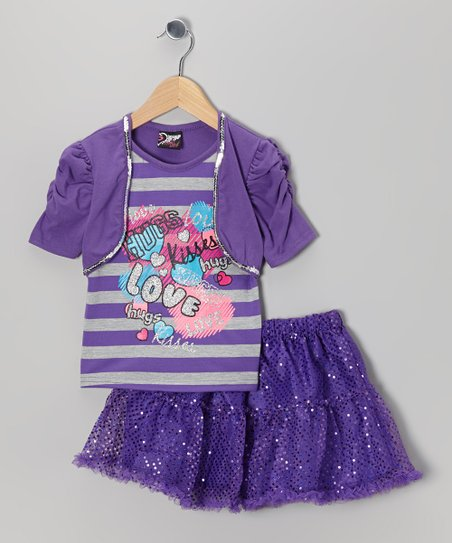 Purple 'Love' Layered Top & Skirt - Toddler & Girls