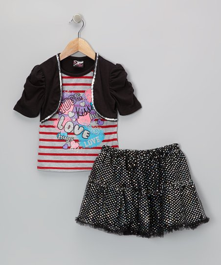 Black 'Love' Layered Top & Sequin Skirt - Toddler & Girls