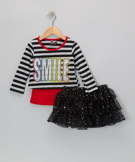 Black 'Smile' Top & Sequin Skirt - Infant, Toddler & Girls