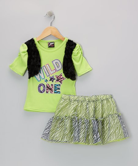 Lime 'Wild One' Top & Zebra Skirt - Infant, Toddler & Girls