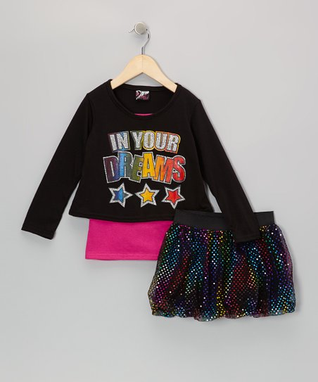 Black 'Dreams' Top & Rainbow Skirt – Infant, Toddler & Girls