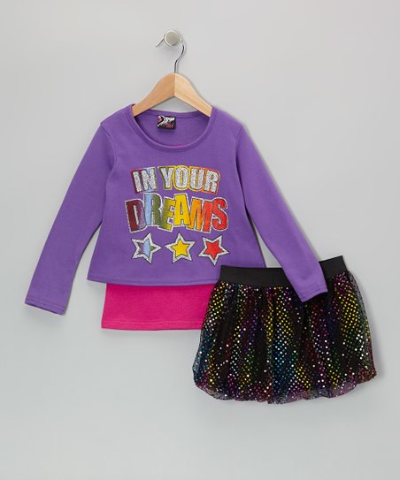 Purple 'Dreams' Top & Rainbow Skirt - Infant, Toddler & Girls