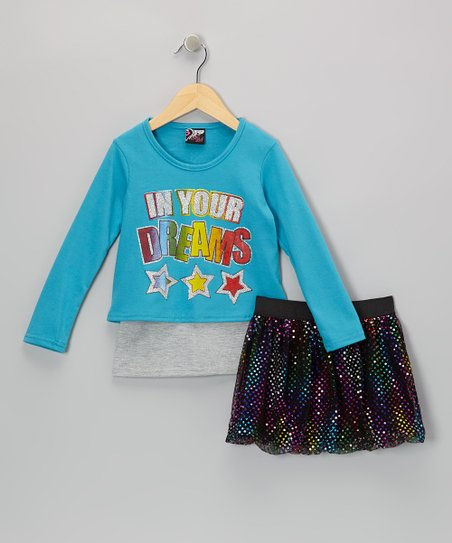 Aqua 'Dreams' Top & Rainbow Skirt - Infant, Toddler & Girls