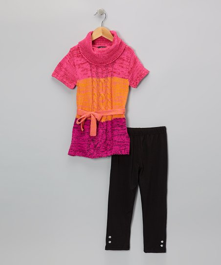 Orange Color Block Tunic & Leggings - Infant & Toddler