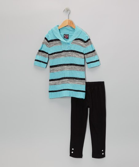 Aqua Stripe Tunic & Leggings - Infant, Toddler & Girls
