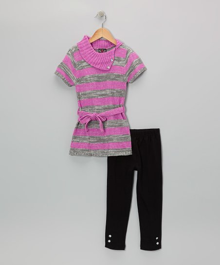 Pink Stripe Collar Tunic & Leggings - Infant & Toddler