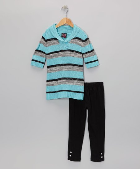 Aqua Stripe Collar Tunic & Leggings - Infant & Toddler