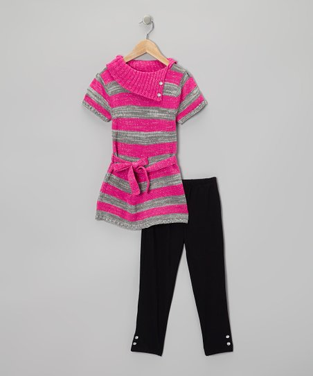 Fuchsia Stripe Collar Tunic & Leggings - Infant & Toddler