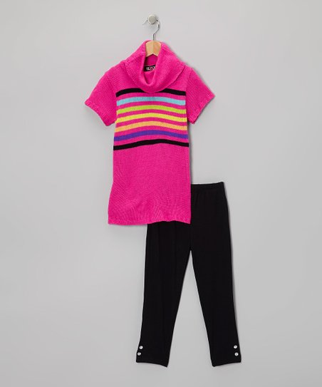 Fuchsia Rainbow Stripe Tunic & Leggings - Infant, Toddler & Girls