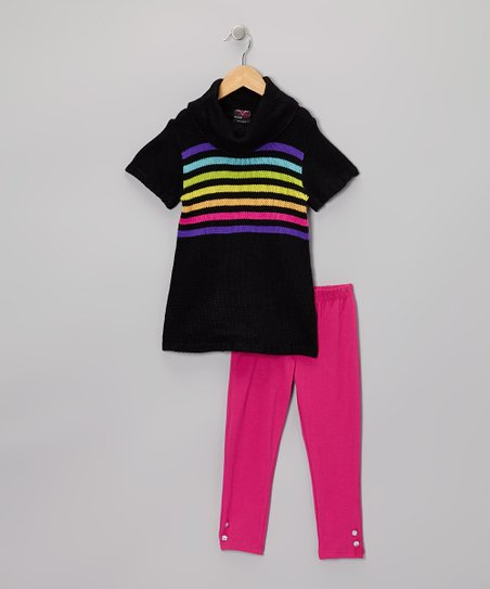 Black Rainbow Stripe Tunic & Leggings - Infant, Toddler & Girls