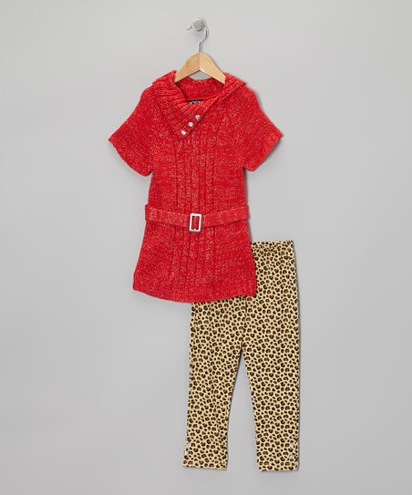 Red Belted Tunic & Leopard Leggings - Infant & Toddler
