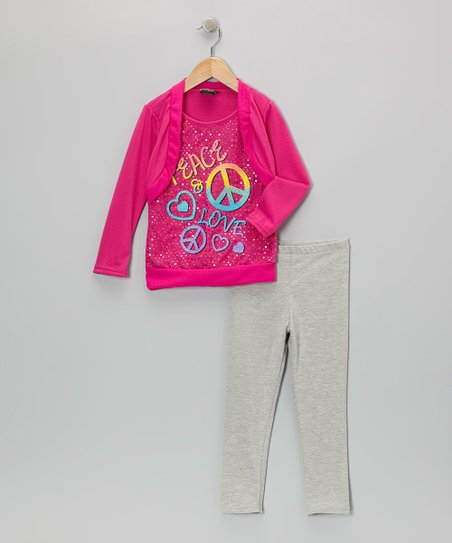 Fuchsia 'Peace' Layered Top & Leggings - Toddler & Girls
