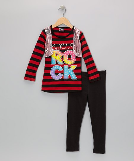 Red 'Girls Rock' Vest Tee & Leggings - Toddler
