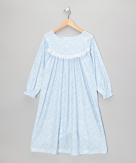 Blue Sara Ruffle Nightgown - Toddler & Girls
