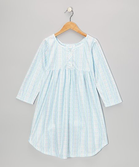Blue Tyrolean Button Nightgown - Girls