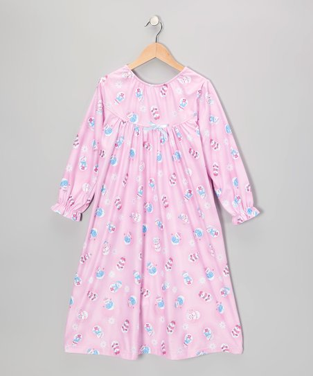 Pink Snow Friends Bow Nightgown - Girls