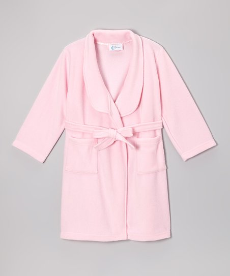 Pink Microfleece Belted Bathrobe - Toddler & Girls