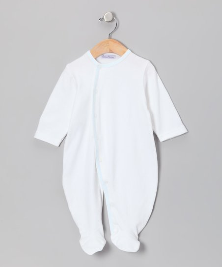 White & Blue Footie - Infant