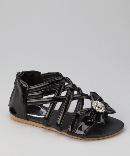 Black Apple-3 Bow Sandal