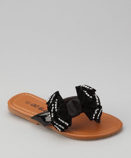 Black Rhinestone Bow Play Flip-Flop