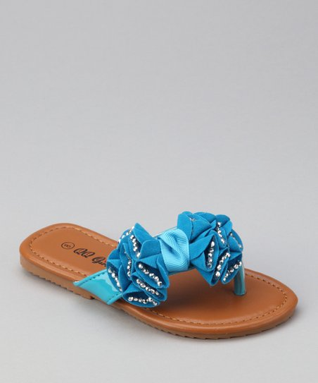 Blue Rhinestone Bow Play Flip-Flop