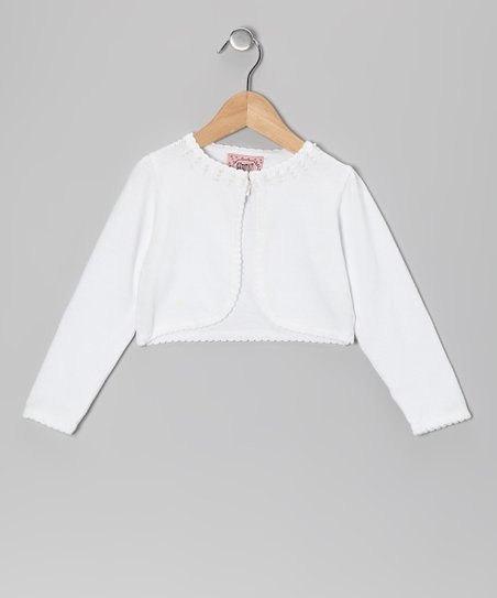 White Beaded Cropped Cardigan - Girls
