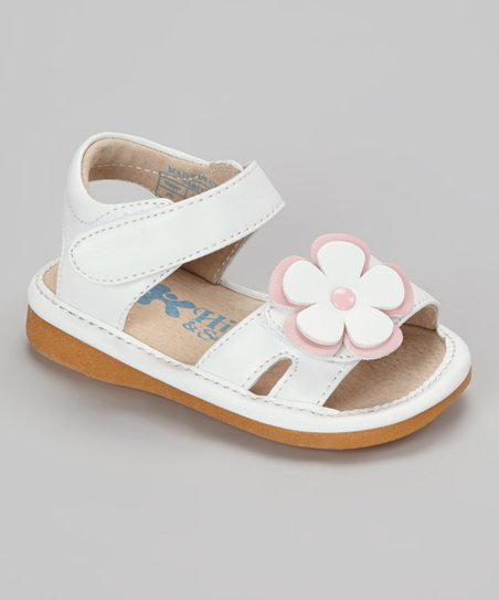 White & Light Pink Flower Squeaker Sandal
