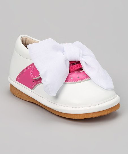 White & Hot Pink Bow Squeaker Oxford
