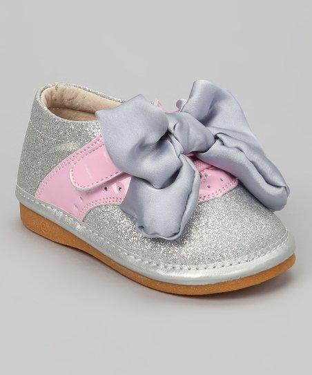 Silver Glitter Bow Squeaker Oxford