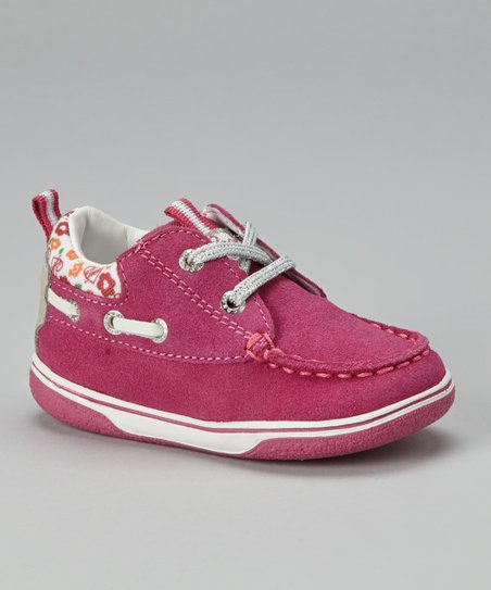 Fuscia & White Jr Flick Boat Shoe