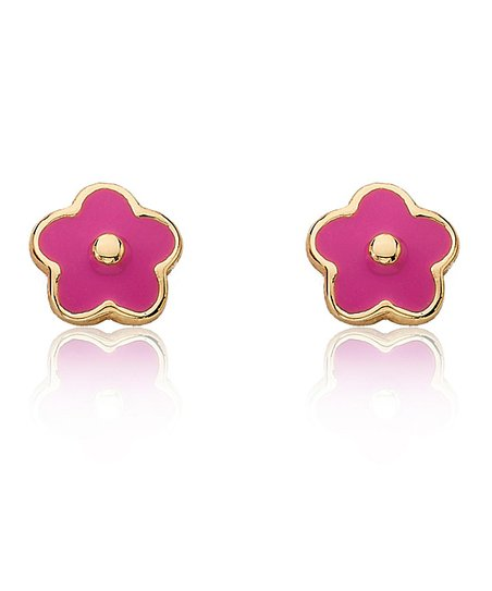 Fuchsia & Gold Flower Stud Earrings