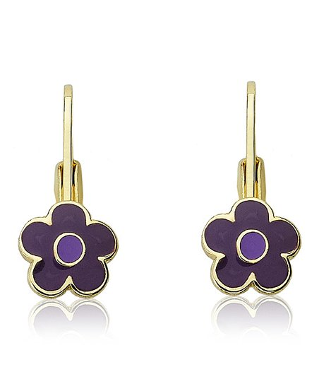 Purple Gold Flower Earrings