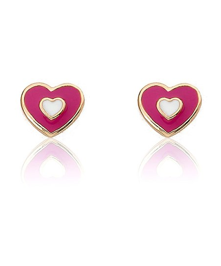 Fuchsia & Gold Heart Stud Earrings
