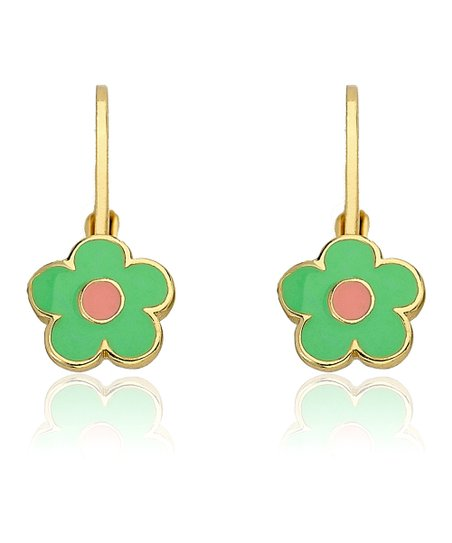Mint &amp; Gold Flower Leverback Earrings