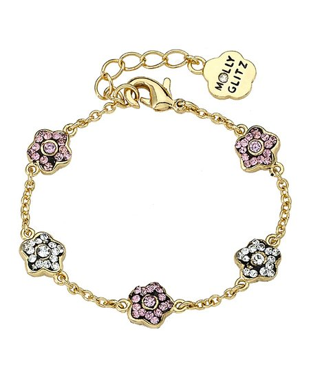 Crystal &amp; Gold Flower Bracelet