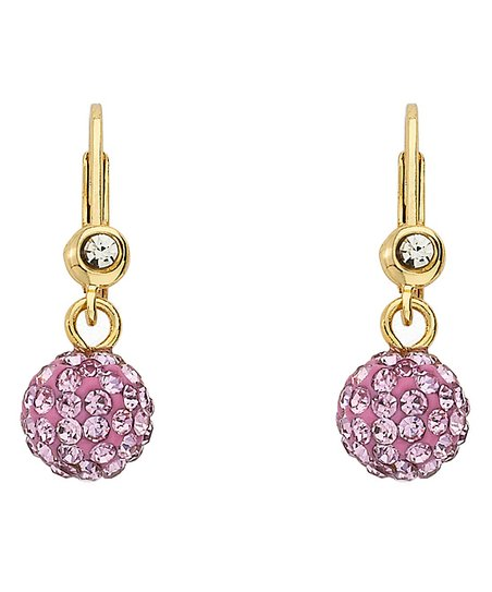Pink Crystal & Gold Ball Earrings