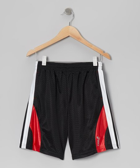 Black & Red Mesh Energy Shorts - Boys