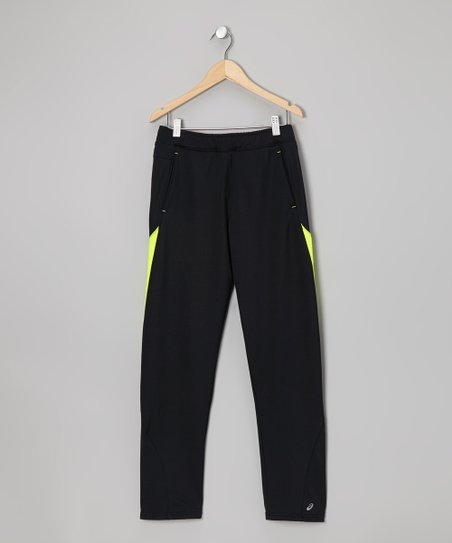Black & Yellow Motion Track Pants - Boys