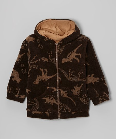 Brown Dino Wool-Blend Zip-Up Hoodie - Infant & Toddler