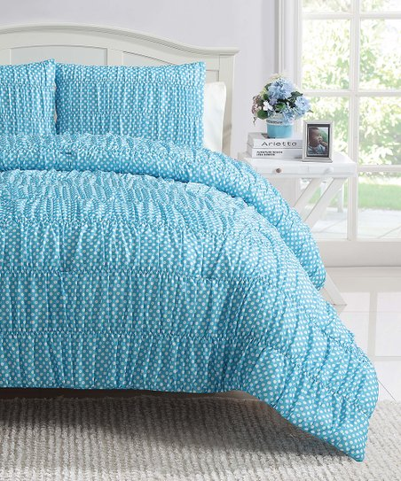 Turquoise Polka Dot Ruched Reversible Comforter Set