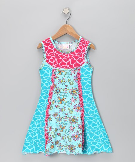Blue & Pink Janea's World Robin Dress - Toddler & Girls