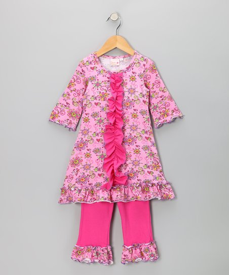 Pink Janea's World Odile Dress & Leggings - Toddler